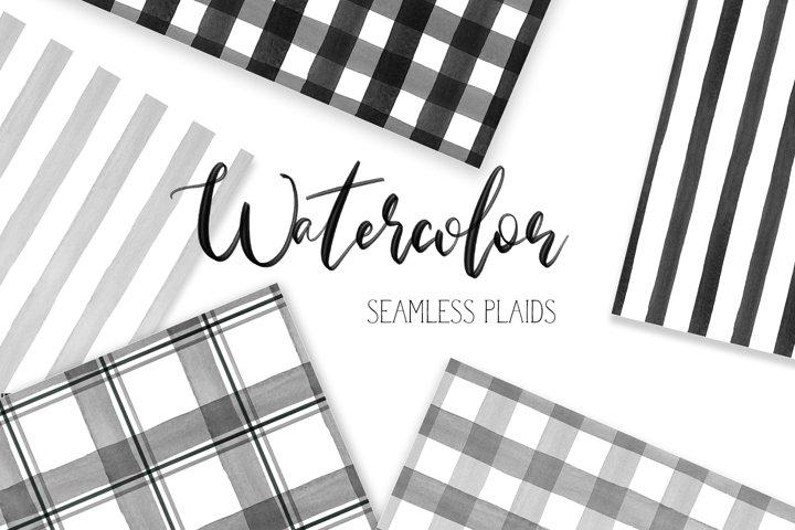 16 Watercolor Buffalo Plaid Black, Gray White Patterns