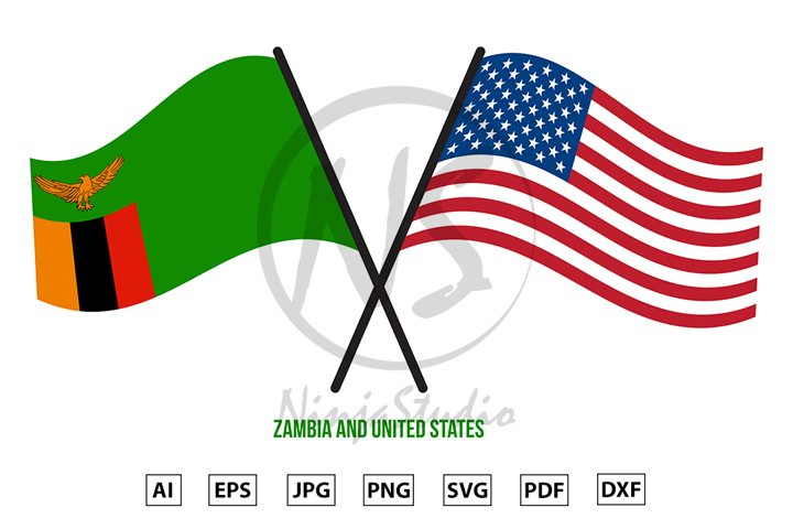 Zambia and United States Flags Crossed And Waving