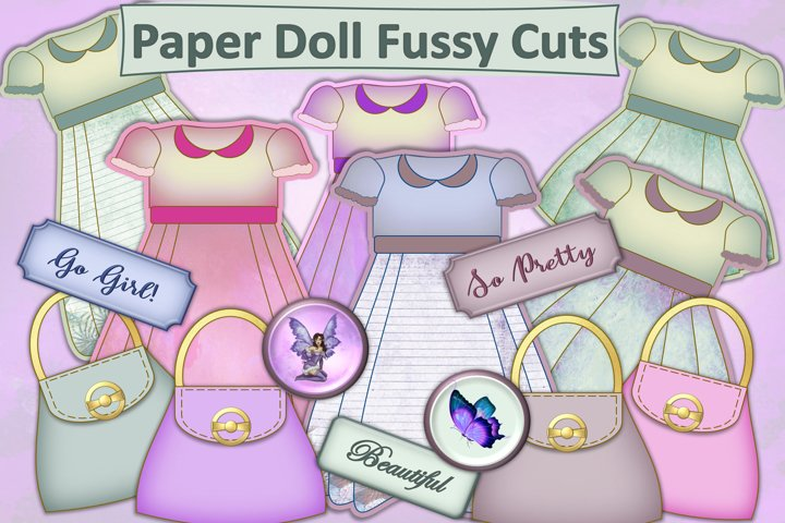 Paper Doll Dresses Fussy Cut Clip Art. JPEg PDF PNG