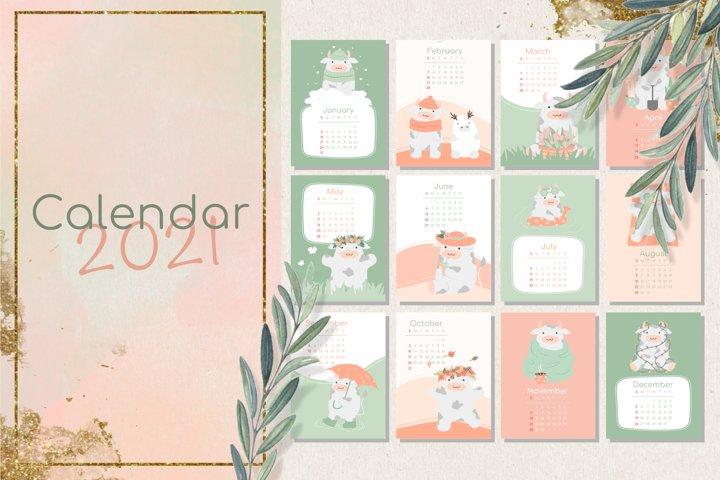 Cute Cow. Calendar 2021