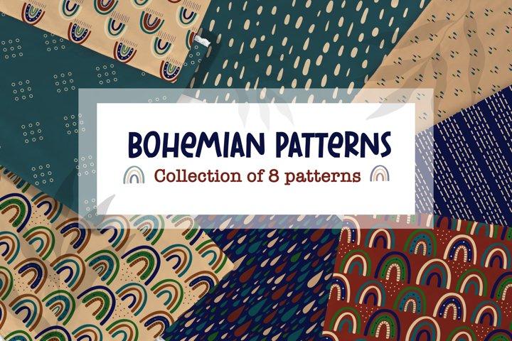 Modern Bohemian patterns. Boho pattern collection