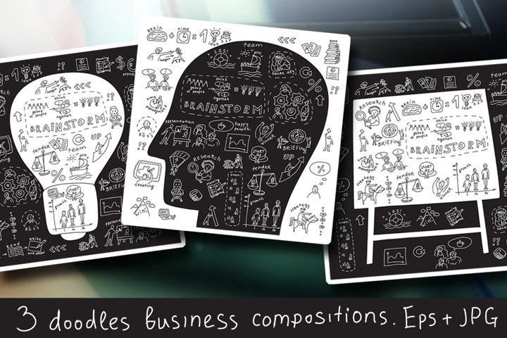 Doodles business vector set