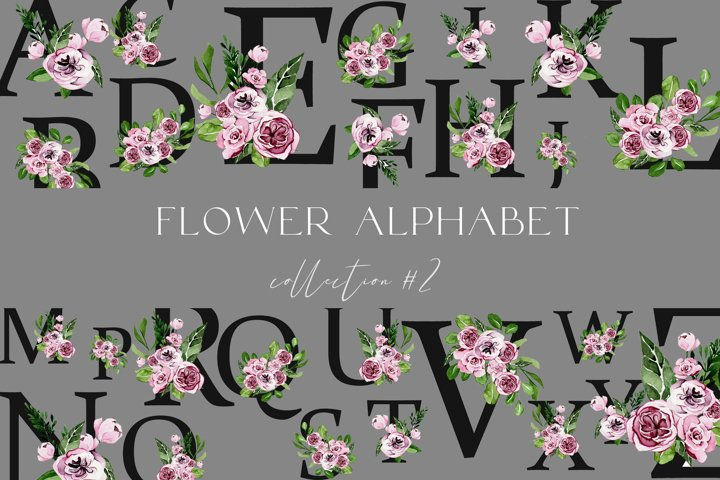 Festive alphabet watercolor in flowers png 26 letters