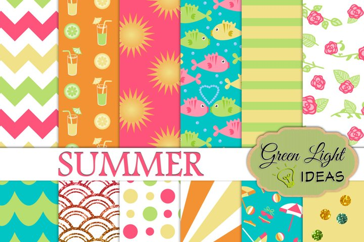 Summer Digital Papers, Beach Backgrounds, Vacation Patterns