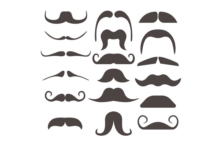 Funny fake moustaches for mouth mask vector collection
