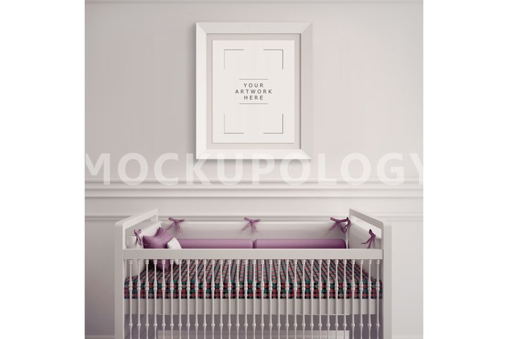 8x10 White Frame Nursery Interior Mockup, Baby Cradle Styled Photography Poster Mockup, Plain Wall Background, INSTANT DOWNLOAD
