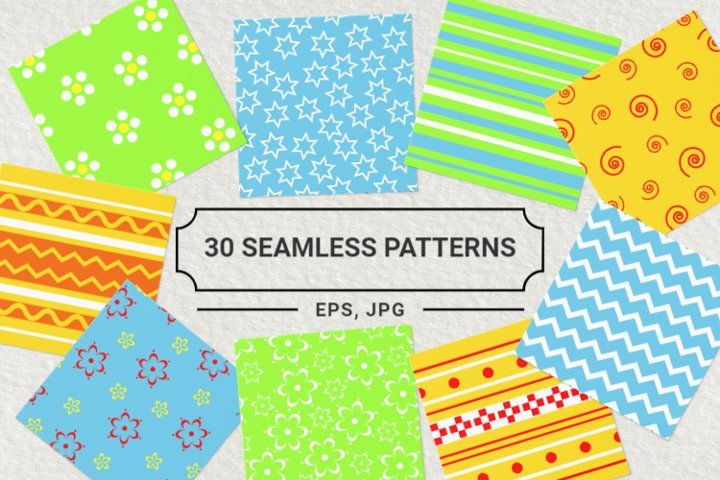 Digital Colorful Paper Pack, 30 seamless patterns vector set