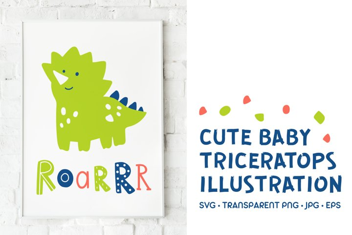 Baby Triceratops Illustration. SVG with Lettering Text Roar