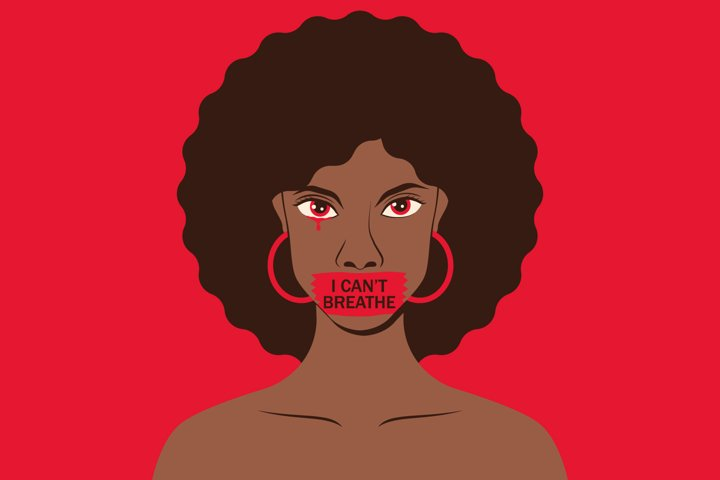 2 protest banners i cant breathe. Black lives matter.