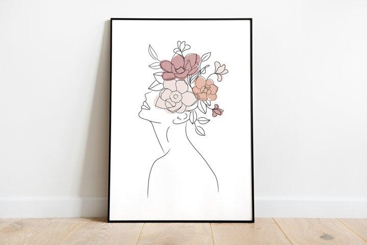 Head Of Flowers Art Print, Woman With Flower Head Wall Art