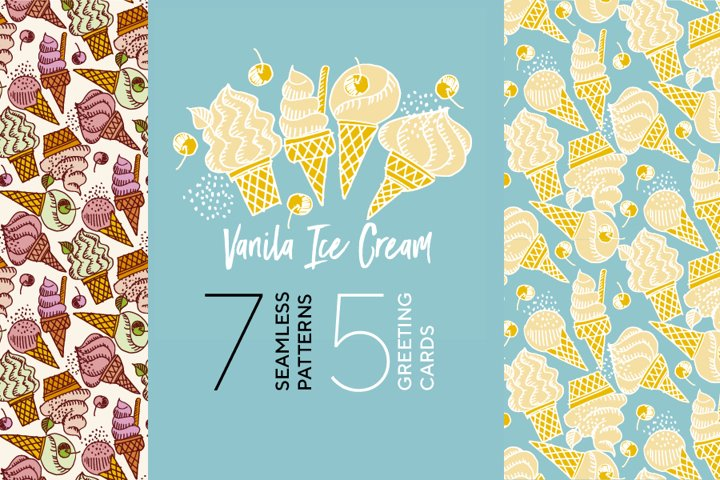 Doodle-style ice cream cards and seamless patterns