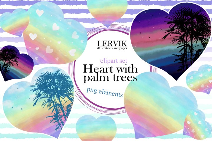 Watercolor rainbow hearts with palm trees clipart