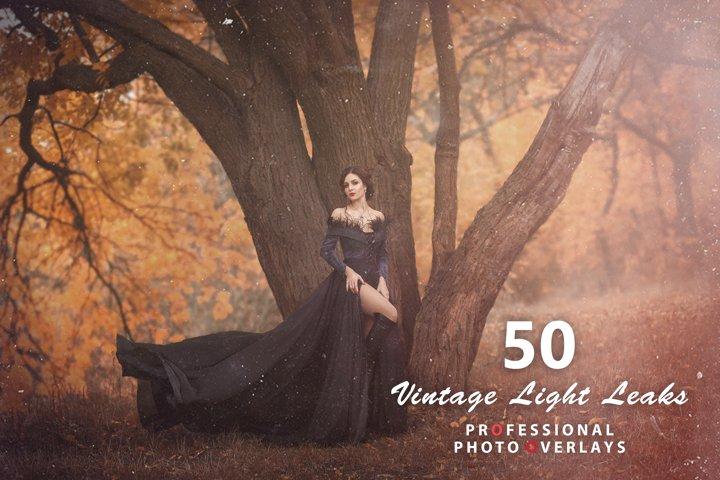 50 Vintage Light Leaks Overlays