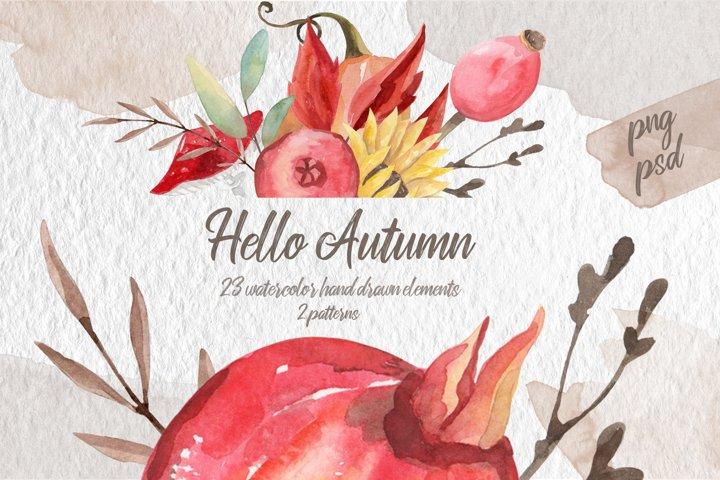 Hello Autumn watercolor collection