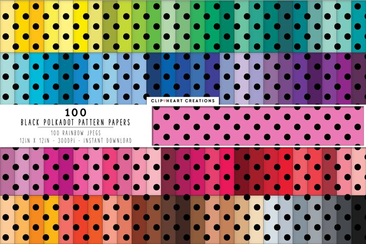 100 Black Polka dot Pattern Digital Papers - rainbow colors