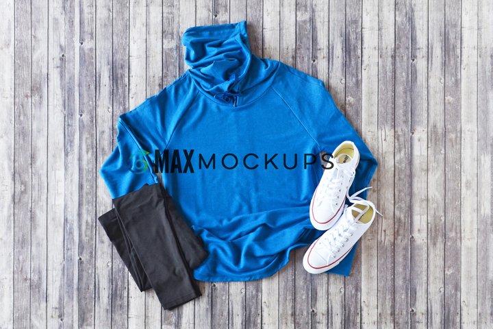 Blue shirt Mockup, long sleeve flatlay, women, fall, winter