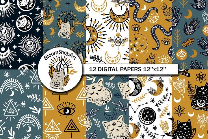 Kids magic seamless moon, Cute cats paper