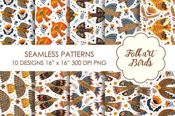 Watercolor seamless patterns folk art birds.