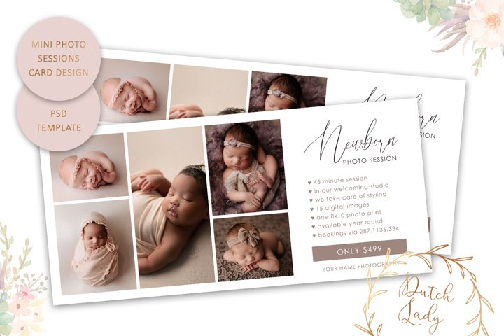 PSD Newborn Photo Session Rack Card Template - Design #69