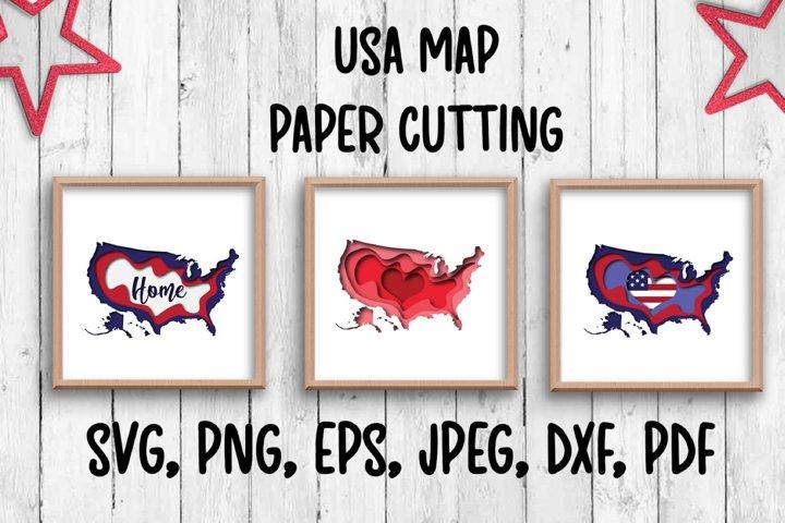 USA map. Paper cutting