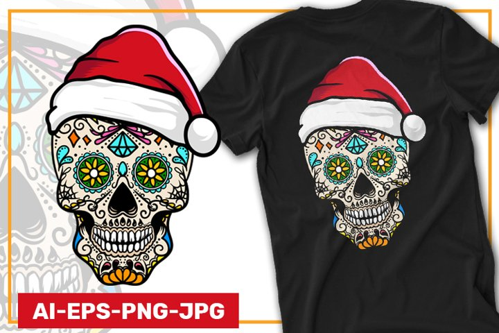 Sugar Skull with Santa Hat | Ai Eps Png Jpg