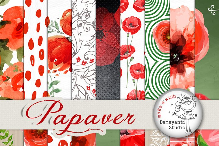 Poppy Flower Digital Paper, patterned paper, watercolor flowers, seamless pattern, poppies paper, scrapbooking paper, floral patterns, red