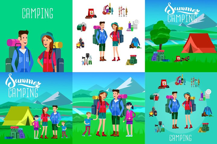 Camping characters & object set