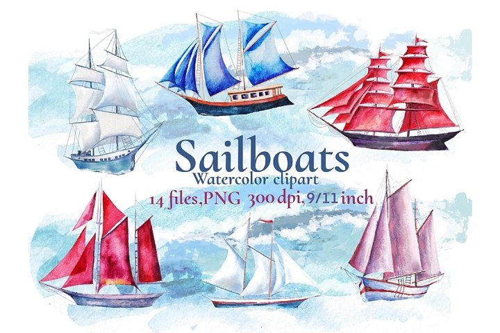 Sailing ships clipart, watercolor picture drawing.