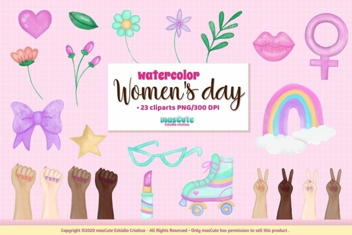 Womens Day Watercolor Clipart set