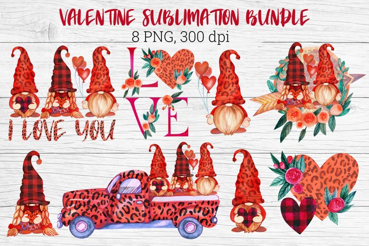 Valentine Gnome Sublimation. Valentine Gnome Bundle.