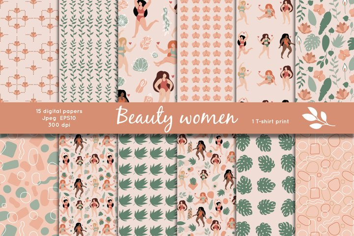 Seamless patterns of beauty women with tropical flowers
