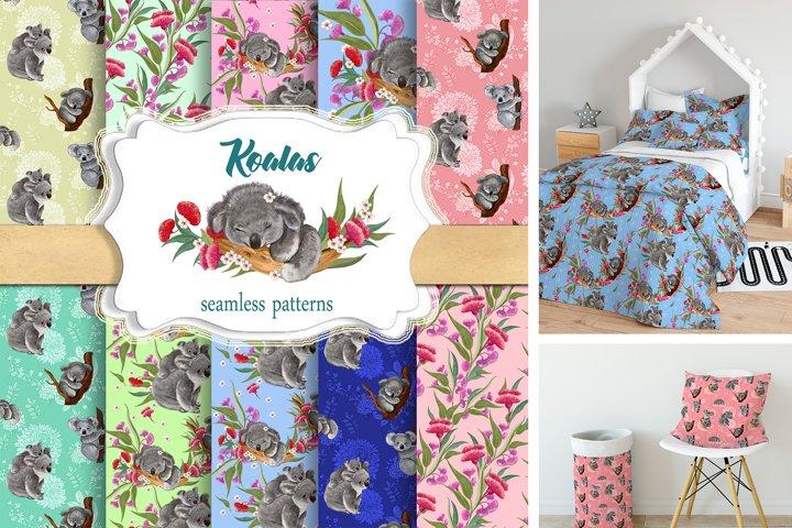 Koala.seamless patterns