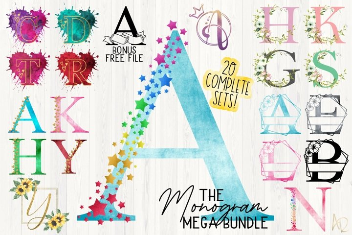 Sublimation Monogram Mega Bundle |20 Alphabet Sets