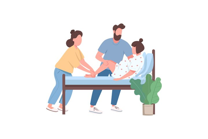 Woman deliver baby flat color vector faceless character
