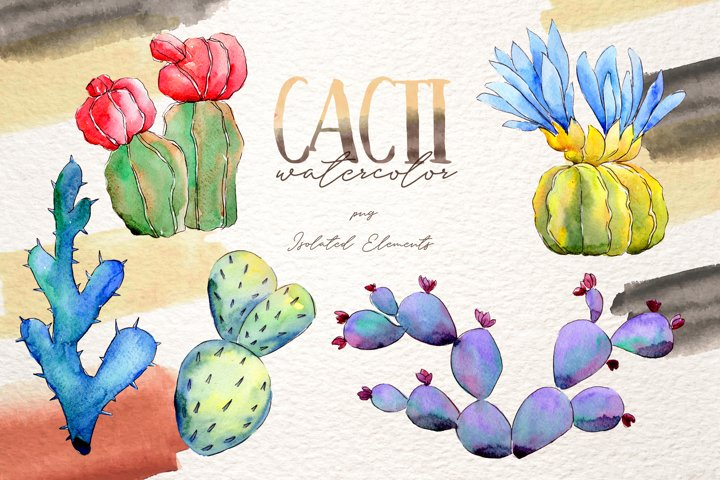 Cool colorful cacti PNG watercolor set example 1