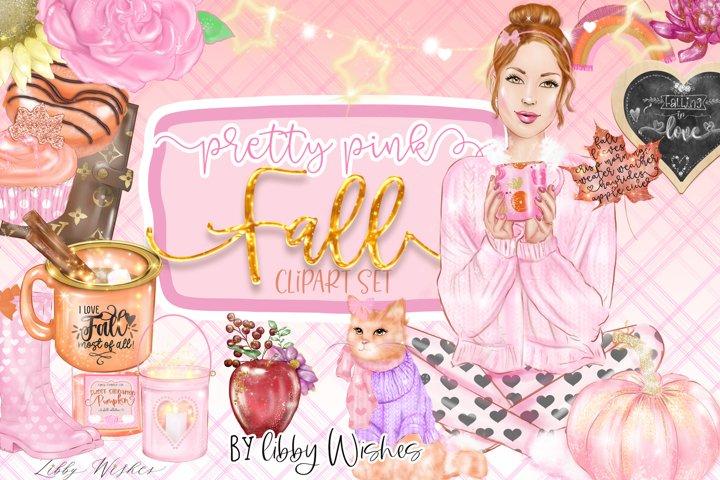 Pink Autumn Fall clipart