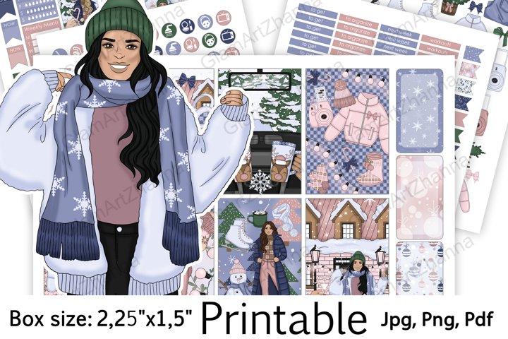 WInter Christmas Holiday Printable Sticker BoxSize 2,25x1,5