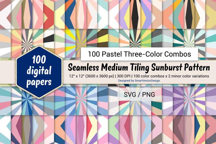 Seamless Med Tiling Sunburst - 100 Pastel Three-Color Combos