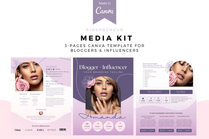 Pinkpreneur Media Kit Canva Template, Media kit for bloggers
