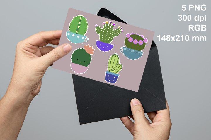 5 funny cactus sticker