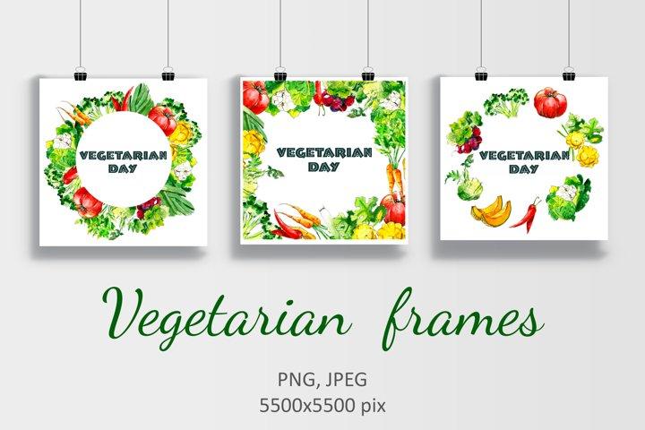 Watercolor Vegetarian frames