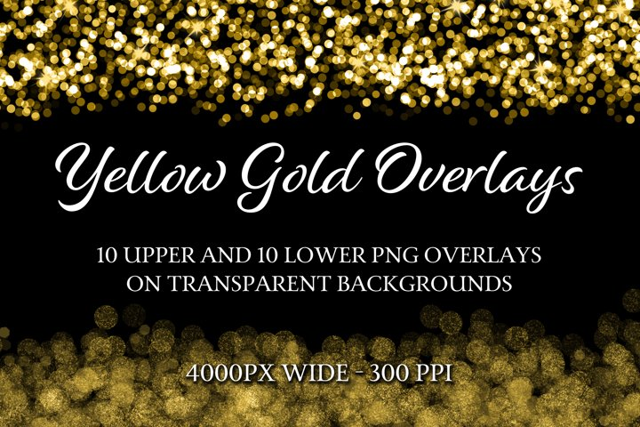 Yellow Gold Overlays - 10 Upper and 10 Lower PNG Overlays