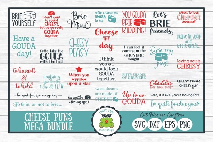 Cheese Puns Mega Bundle, SVG Cut File for Crafting and Laser