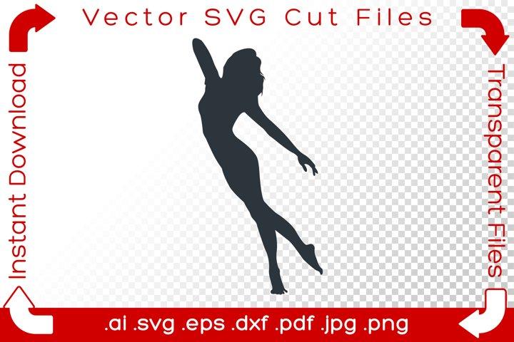 Female Dancer SVG Silhouette Yoga Gymnast Acrobat Cut File