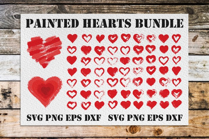 Painted Hearts Bundle   SVG PNG EPS DXF
