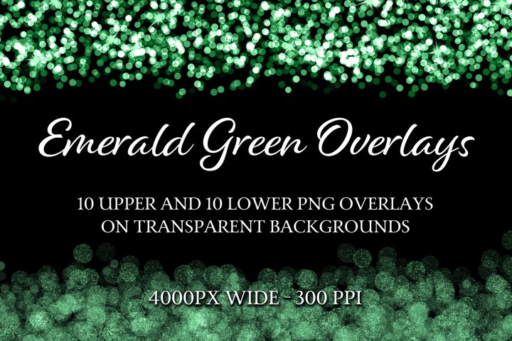 Emerald Green Overlays - 10 Upper and 10 Lower PNG Overlays