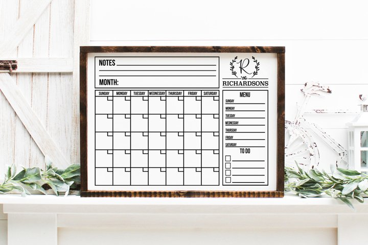 Customizable Family Calendar SVG