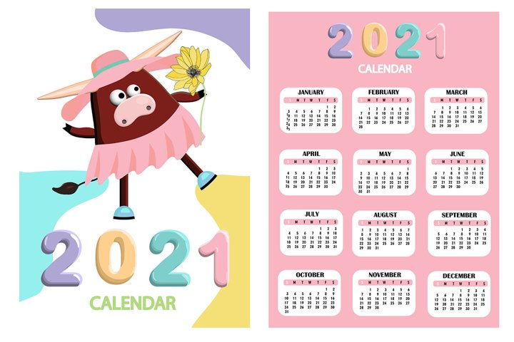 Calendar 2021. Cute design. Symbol of the year bull or ox. J