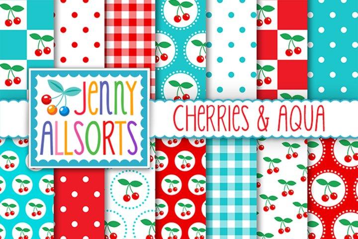 Cherries & Aqua Patterns, Cute Background Digital Designs
