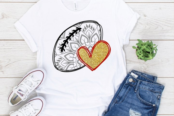 Football Mandala with Heart SVG DXF PNG
